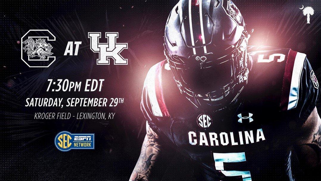 Game time, TV network set for South Carolina's road contest vs. Kentucky - Sept. 17, 2018