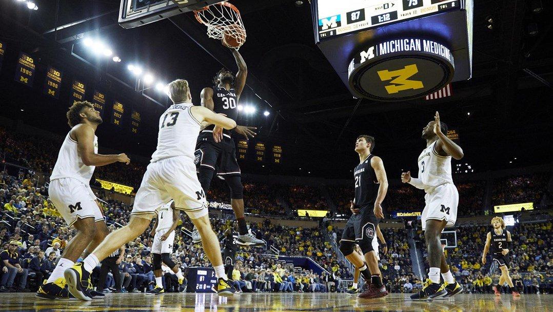 No. 5 Michigan stays unbeaten, tops South Carolina 89-78 - December 08, 2018 | GCF Staff Report